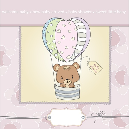 hot announcement: delicate baby shower card with teddy bear Illustration