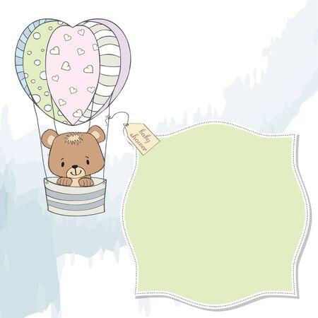 teddy bear: d�licat carte de douche de b�b� avec ours en peluche Illustration