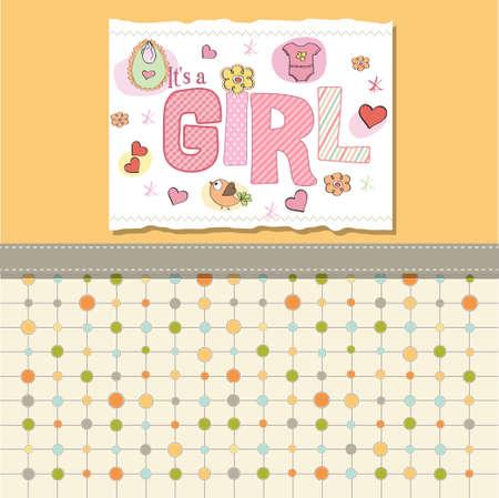 baby girl shower card Stock Vector - 13005717