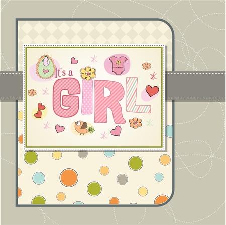 baby girl shower card Stock Vector - 13005720