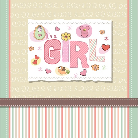 baby girl shower card Stock Vector - 13005716