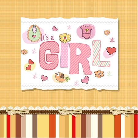 baby girl shower card Stock Vector - 13005729