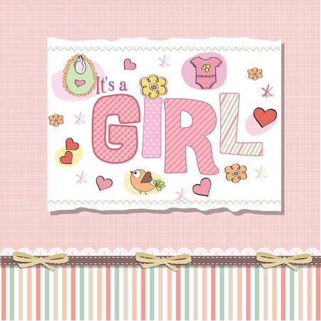 playfulness: baby girl shower card Illustration