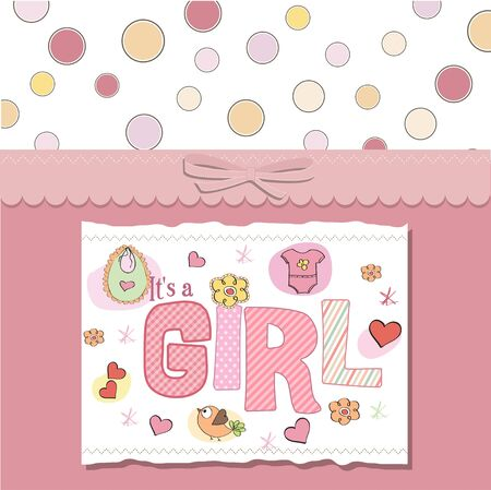 baby girl shower card Stock Vector - 13005713
