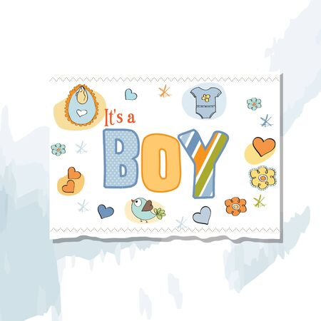 new baby boy shower card Stock Vector - 13005757