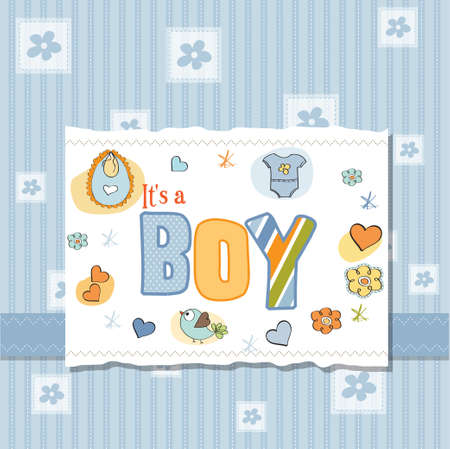 new baby boy shower card Stock Vector - 13005782