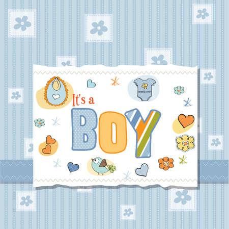 new baby boy shower card Stock Vector - 13005782