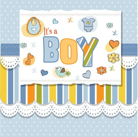 new baby boy shower card Stock Vector - 13005778