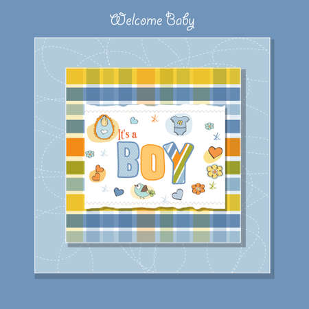 new baby boy shower card Stock Vector - 13005749