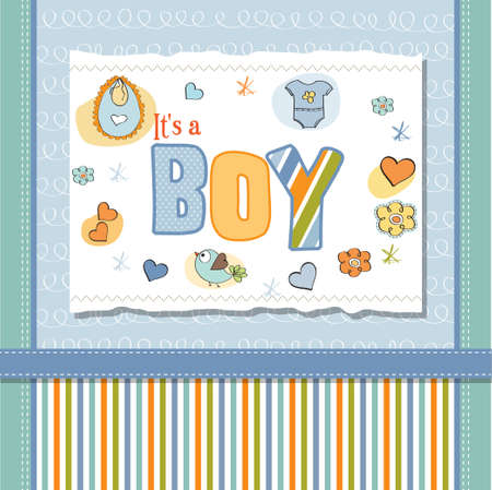 new baby boy shower card Stock Vector - 13005755