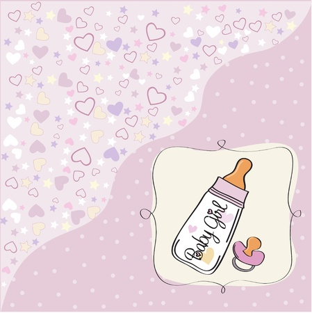 baby announcement card with milk bottle and pacifier Vector