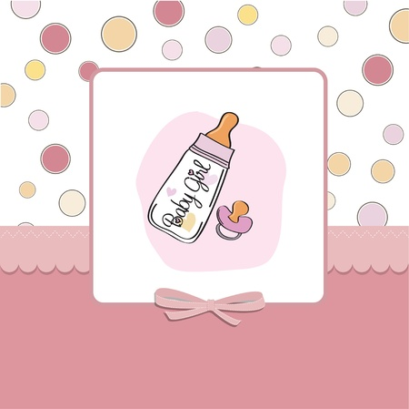 announcements: baby announcement card with milk bottle and pacifier