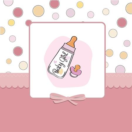 invitacion bebe: beb� anuncio de la tarjeta con la botella de leche y el chupete Vectores