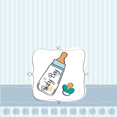 baby announcement card: baby boy announcement card with milk bottle and pacifier Illustration