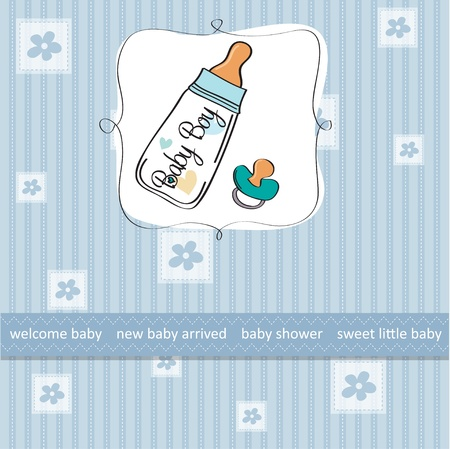 baby boy announcement card with milk bottle and pacifier Vector