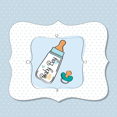baby boy announcement card with milk bottle and pacifier Stock Vector - 13023172