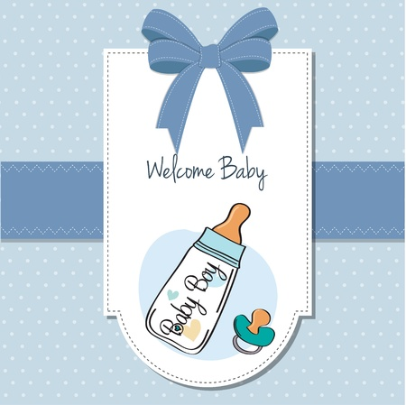 baby announcement: baby boy announcement card with milk bottle and pacifier Illustration