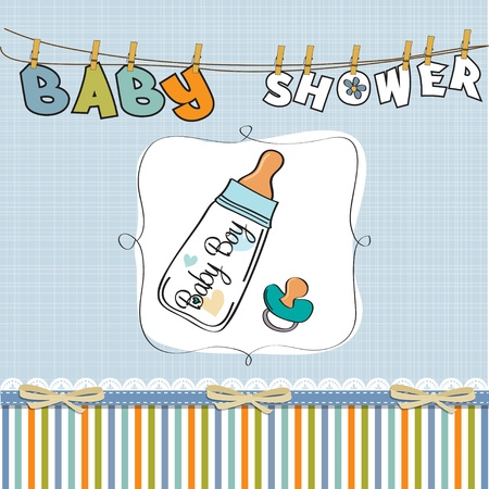 baby bottle: baby boy announcement card with milk bottle and pacifier Illustration