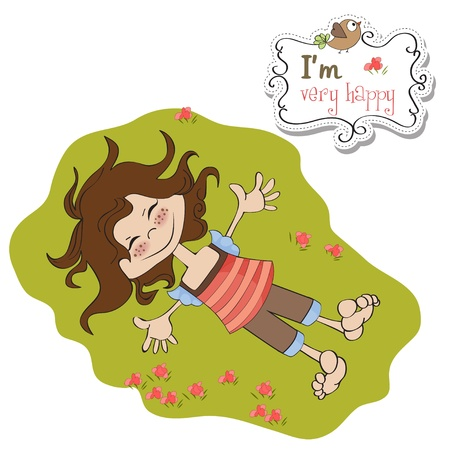 happy cute girl Stock Vector - 13084857