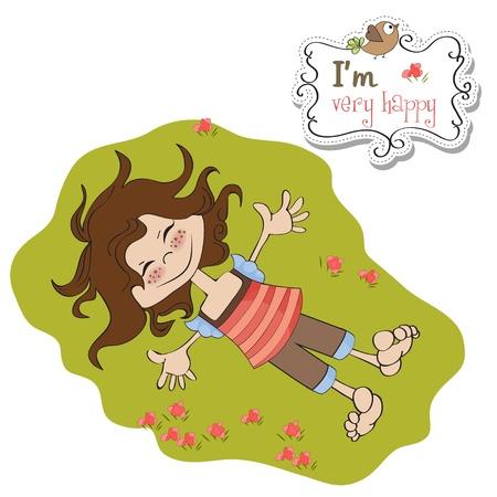 happy cute girl Stock Vector - 13084857