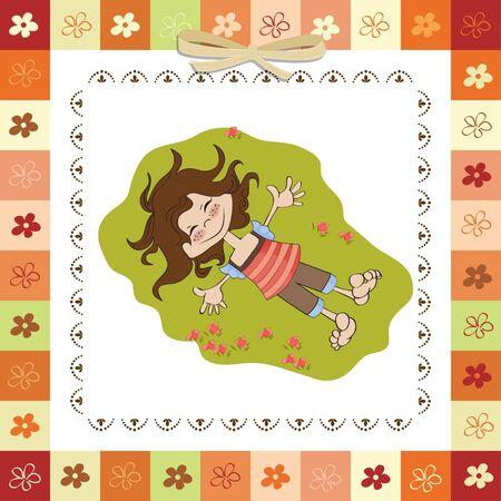 happy cute girl Stock Vector - 13084859