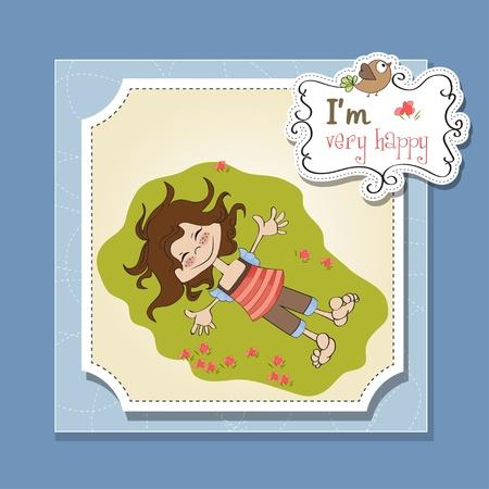happy cute girl Stock Vector - 13084862