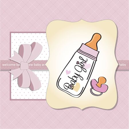 new baby girl shower card Stock Vector - 13124318