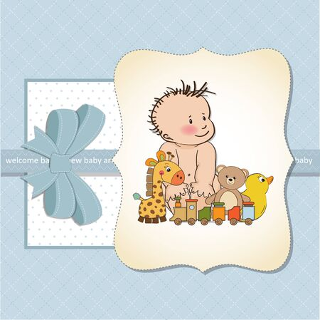 nestling: new baby boy shower card Illustration