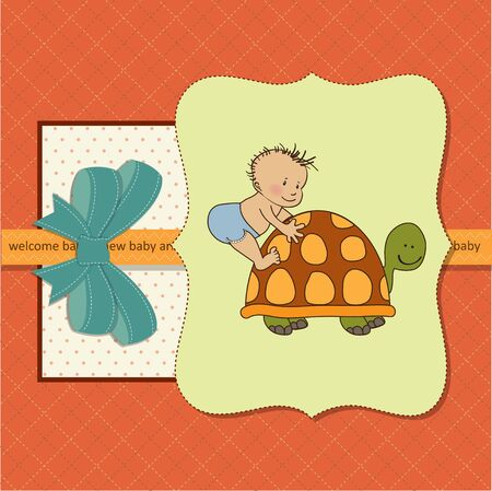 turtles love: new baby  shower card