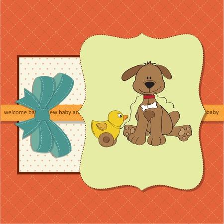 strip a dog: new baby  shower card