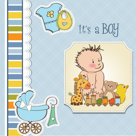 new baby boy shower card Stock Vector - 13229674