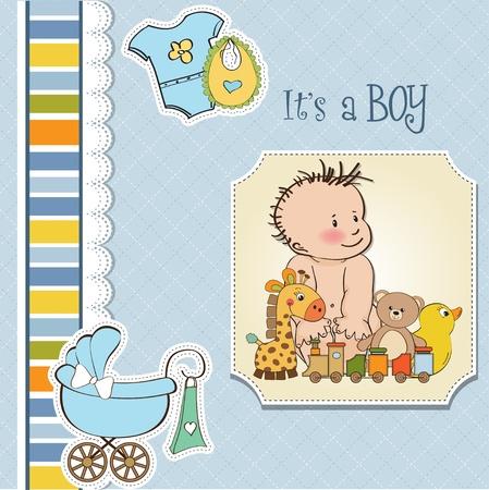 new baby boy shower card Stock Vector - 13229674