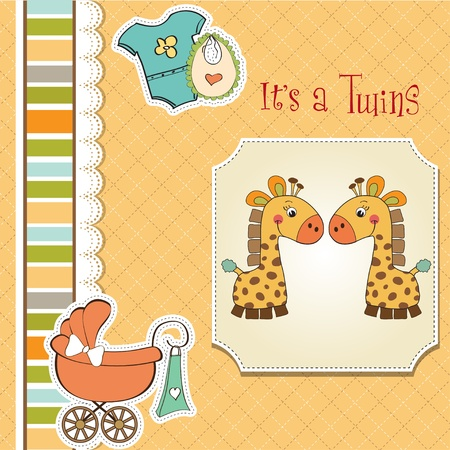 baby twins shower card Stock Vector - 13229703