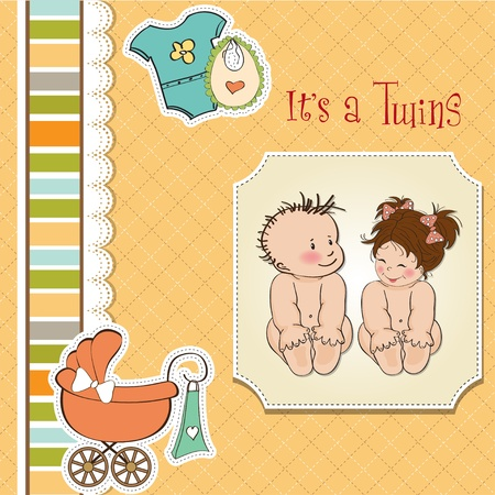baby twins shower card Stock Vector - 13229680