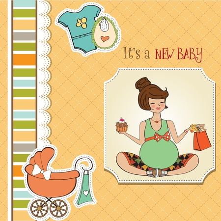 woman eat: baby shower card Illustration