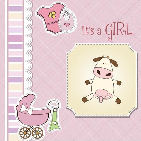 baby girl shower card Stock Vector - 13229672