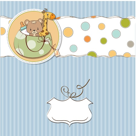 baby shower card with toys Stock Vector - 13229630