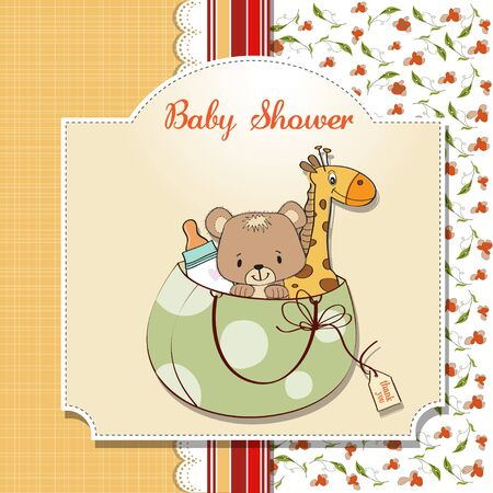 baby shower card with toys Vector
