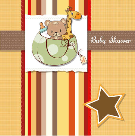baby shower card with toys Stock Vector - 13229647