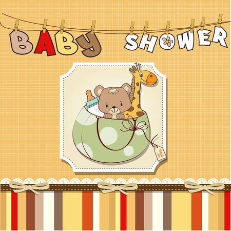baby shower card with toys Stock Vector - 13229706