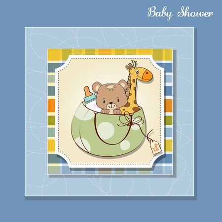 baby shower card with toys Stock Vector - 13229640