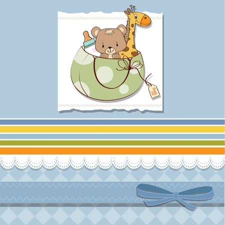 baby shower card with toys Stock Vector - 13229654