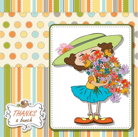 Funny girl with a bunch of flowers