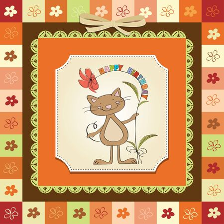 playfulness: birthday greeting card with cat Illustration