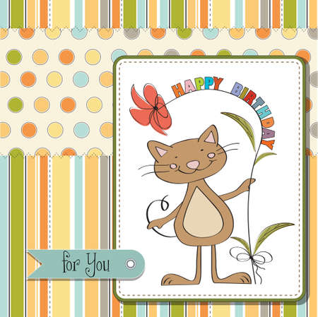 give thanks: birthday greeting card with cat Illustration