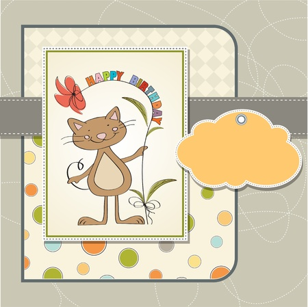 moments: birthday greeting card with cat Illustration