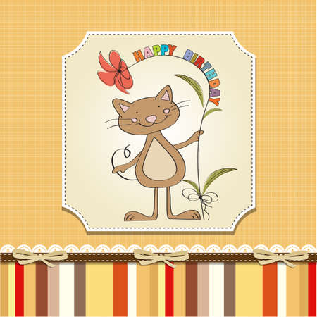 special events: birthday greeting card with cat Illustration