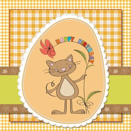 birthday greeting card with cat Stock Vector - 13252352