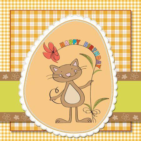 happy birthday cartoon: birthday greeting card with cat Illustration