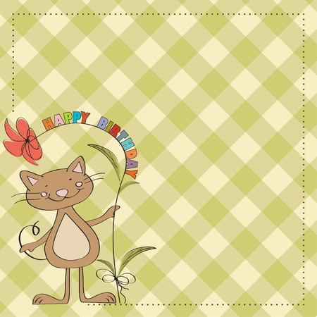 birthday greeting card with cat Vector